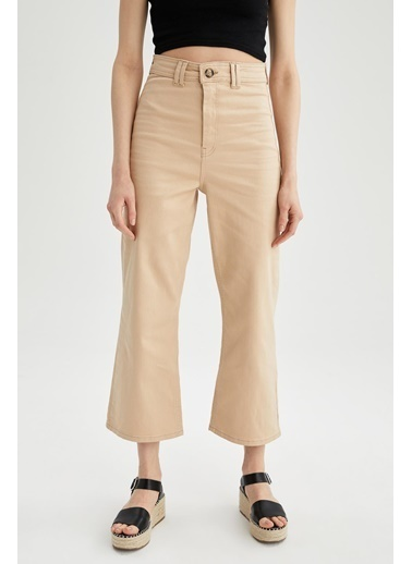 DeFacto Geniş Paça Yüksek Bel Crop Boy Pantolon Sarı